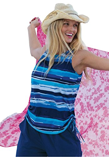 Swim 365 Women's Plus Size Swim 365 Swim Tank Cover-Up Blue Stripe,18/20