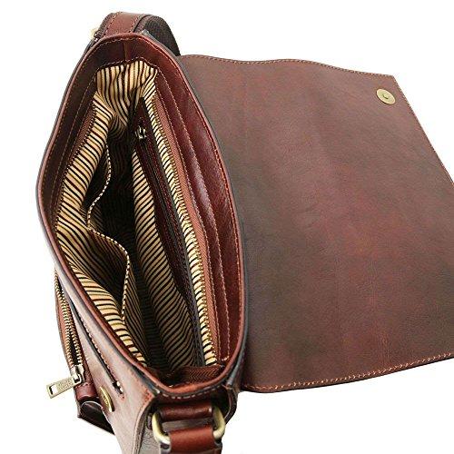 hombre Piel al Marrón TL141656 marrón compact para hombro Bolso TUSCANY de LEATHER BWZA88