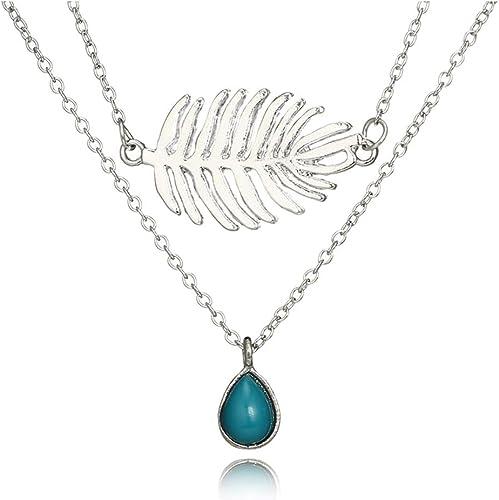 Women Fashion Jewelry Choker Multilayer Boho Gold Leaf Pendant Necklace Cheap