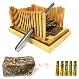 Bread Slicers for Homemade Bread with Crumb Catcher Tray, Compact Foldable Bamboo Bread Cutter Guide, 100 Bread Bags & 100 Twist Ties, Thickness Adjustable, Thick & Thin Slices 1/3'', 3/8'' and 1/2''