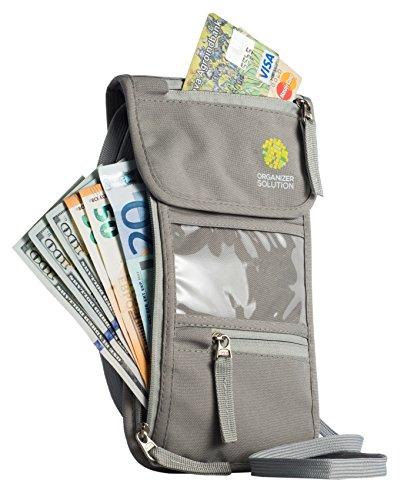 The Travel Wallet by Organizer Solution, Passport Holder for Men, Passport Wallet for Women, Light Grey