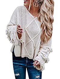 Women Soft Fringe Bell Sleeve Cable Knit V Neck Boho Sweater Casual Oversized Pullover Cropped Fall Winter Sweater