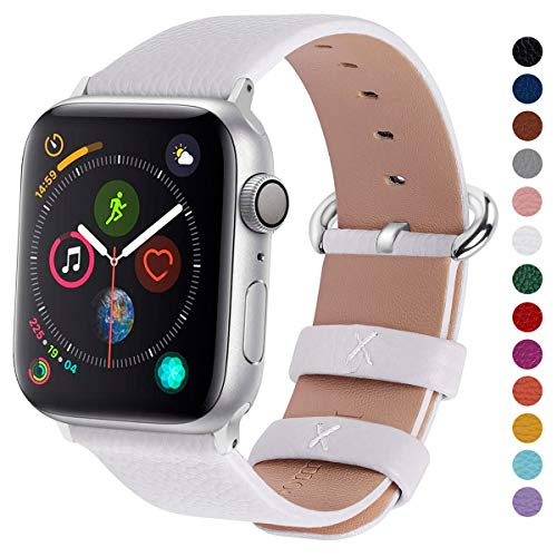 Fullmosa Compatible Apple Watch Band 38mm 40mm 42mm 44mm Calf Leather Compatible iWatch Band/Strap Compatible Apple Watch Series 5 Series 4 Series 3 Series 2 Series 1,38mm 40mm White (9 Sec Flexible Tip)