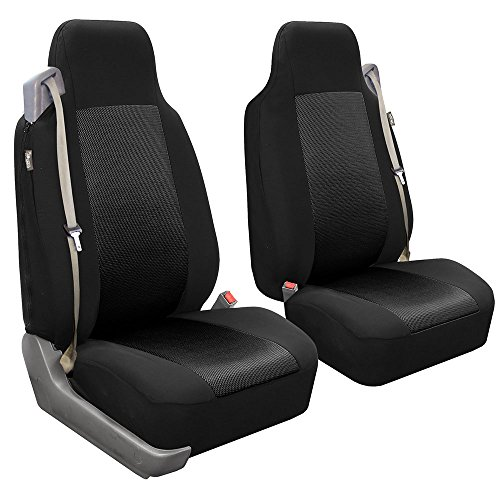 (FH GROUP FH-FB302102 All Purpose Flat Cloth Built-in-Seat Belts Car Seat Covers for Non-detachable headrests, Solid Black Color- Fit Most Car, Truck, Suv, or Van)