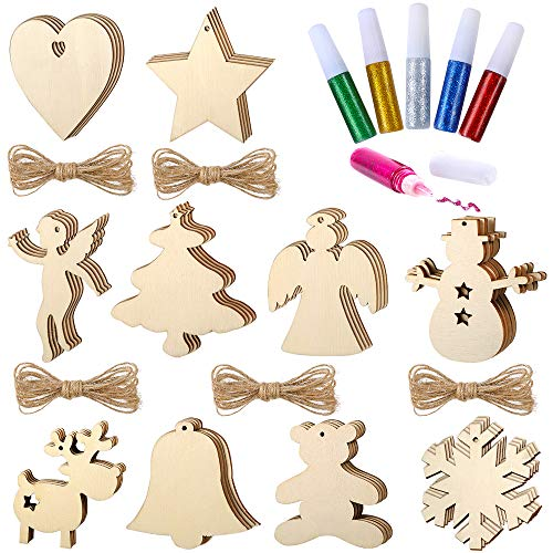 Pllieay 50 Pieces 10 Styles 3 inch (8 cm) Unfinished Round Wood Christmas Ornaments Hanging with Holes and 6 Colors Pigment for Kids Crafts Party Ornaments Decoration