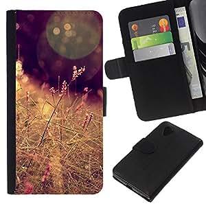 KLONGSHOP // Tirón de la caja Cartera de cuero con ranuras para tarjetas - Sun campo del heno Marrón Cálido - LG Nexus 5 D820 D821 //
