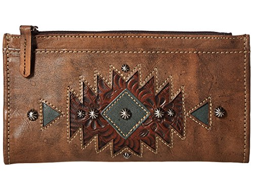 - American West Women's Folded Wallet Distressed Charcoal Brown/Chestnut Brown/Turquoise Wallets