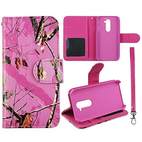 Leather Pink Camo Maple LG G2 D802 AT&T T-Mobile, Sprint Flip Leather Wallet With ID Pouch Case Cover Phone Snap on Cover Cases Protector Faceplates