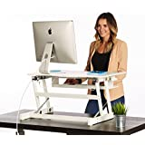 The House of Trade White Standing Desk Height Adjustable Stand Up Desk | 32in. Wide Sit Stand Desk Fits Dual Monitors with Retractable Keyboard Tray
