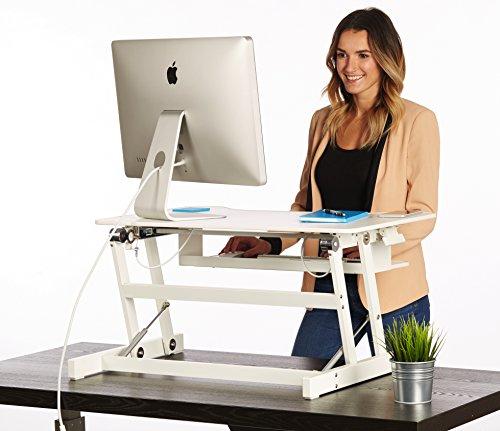 Adjustable Standing Desk Converter | 32 Wide White Adjustable Desk Sit Stand Desk Riser Fits Dual Monitors (32 Wide)