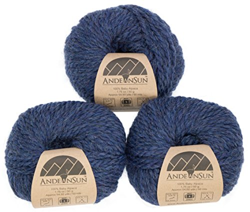 100% Baby Alpaca Yarn (Weight #5) Bulky, Chunky, Craft - Set of 3 Skeins 150 Grams Total- Luxurious and Caring Soft for Knitting and Crocheting - Denim Heather #5 Bulky (Alpaca Chunky Needle)