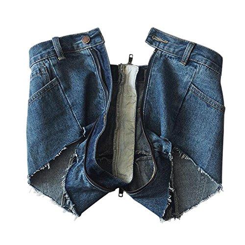 Pantaloni strappati A Nero Da Pantaloncini A Alta Jeans Indietro Pizzo Estate Ziper Vita Blu Hotpant Hzjundasi Denim Blu Donna vnP8q8