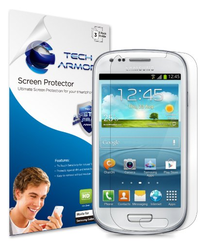 Galaxy S3 Mini Screen Protector, Tech Armor High Definition HD-Clear Samsung Galaxy S3 Mini Film Screen Protector [3-Pack] (Samsung Galaxy S3 Mini Clear Case compare prices)