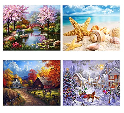 SanerDirect 4 Pack 4 Seasons 5d Diamond Painting Kits, Landscape Full Drill Paint with Diamonds 12x16 inches from SanerDirect