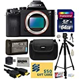 Sony a7 Full-Frame 24.3 MP Mirrorless Interchangeable Digital Lens Camera - Body Only (ILCE7) with Best Value Accessories Bundle Kit includes includes 64GB Class 10 SDHC Memory Card + Replacement (1200mAh) NP-FW50 Battery + Professional 60 Inch Photo/Video Tripod + Hard Shell Carrying Case + High Speed USB Reader/Writer + HDMI Cable + Camera Lens Cleaning Kit + Bonus $50 Gift Card for Digital Prints