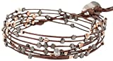 Chan Luu Rose Gold Plated and Gunmetal Mix Indian Bead Brown Tamba Leather Double Wrap Bracelet