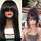 Aopus Hair Virgin Hair Human Lace Front Wig Brazilian Remy Human Straight Hair Lace Wigs with Baby Hair For African Americans Natural Color with Flat Bangs (18 Inch, 130% Density Lace Front Wig)