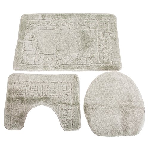 - Universal Textiles 3 Piece Greek Key Pattern Design Bath, Pedestal & Toilet Seat Cover Bathroom Mat (24in x 39in) (Beige)
