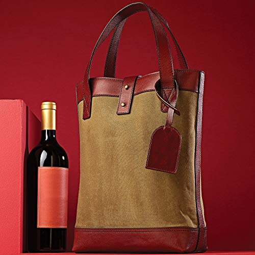- 2-Bottle Canvas Leather Wine Tote