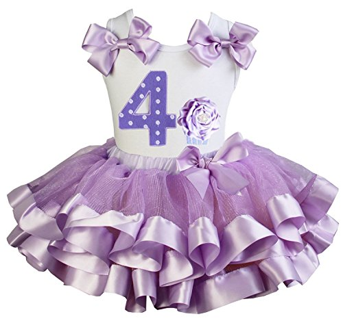 Kirei Sui Girls Lavender Satin Trimmed Tutu Number 4 Cupcake Princess Birthday Dress Small