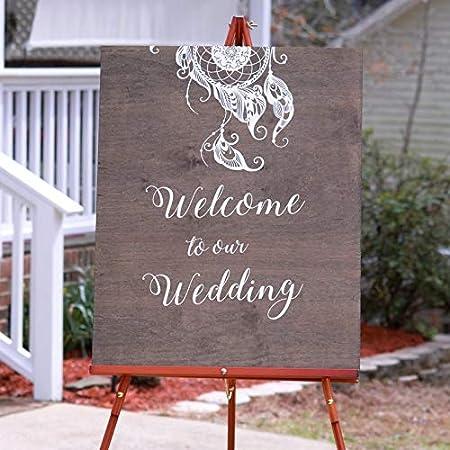 Celycasy Boho Wedding Welcome Sign Ideas Welcome To Our Wedding Rustic Wedding Welcome Signs Personalized Wedding Sign Reception Sign Amazon Co Uk Kitchen Home