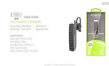 bb3c4a6e863 Image Unavailable. Image not available for. Colour: Oraimo OEB-E35S Elite Bluetooth  Headset ...