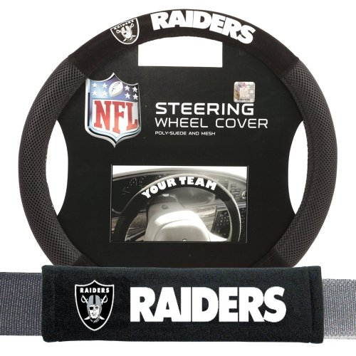 Steering Wheel Cover and Seatbelt Pad Auto Deluxe Kit (Oakland Raiders Steering Wheel Cover)
