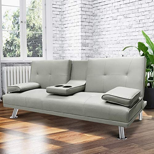 HCROMAT Modern Faux Leather Futon Sofa Bed