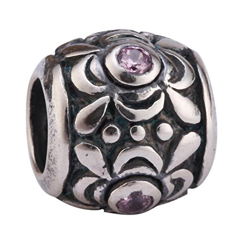 Flower Design Sterling Silver Charm October Birthstone Bead Pink Swarovski Crystal fits All Charm Bracelet for Women Girls Mother's Gifts EC462