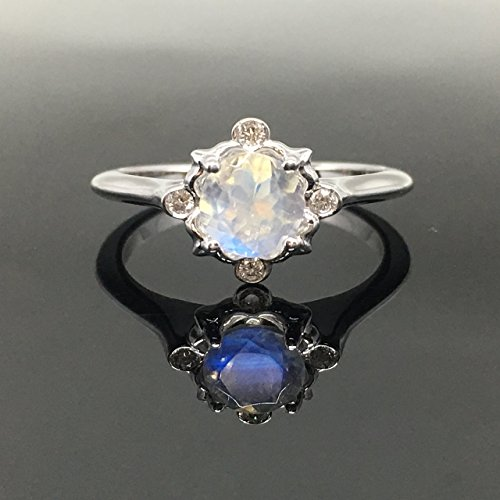 Moonstone Engagement Ring - .925 Sterling Silver Victorian Moonstone Engagement Ring - Vintage Inspired Moonstone Ring - Rainbow Moonstone Ring by Outshine Designs