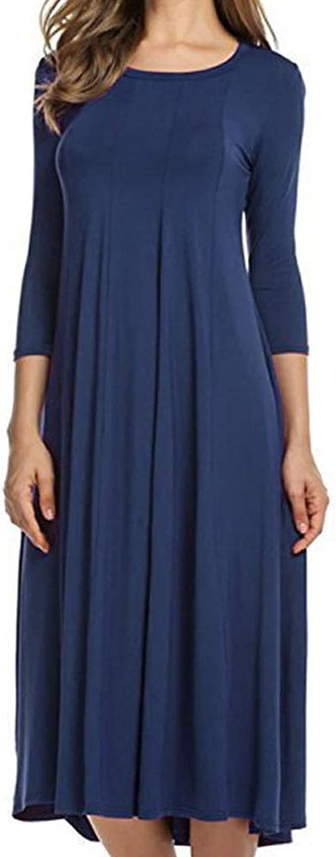FrüHlingsneues Damen-Rundhals-Swing-Kleid Mit MitteläRmeln