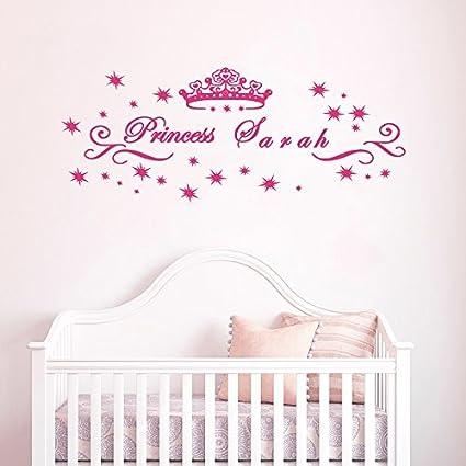 decalmile Stickers Personnalisé Prénom Autocollants Muraux Mural Princesse  Chambre Bébé Fille Enfants Garderie Décoration Art