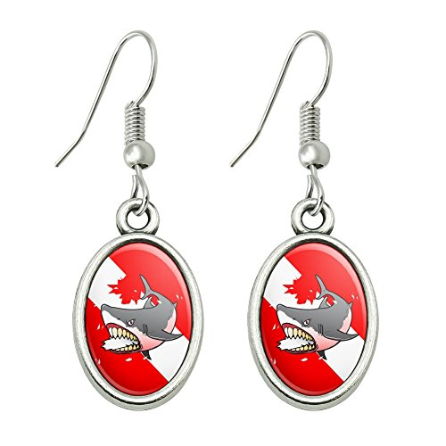 Scuba Diver And Shark Costume (Angry Shark Scuba Diving Flag Diver Novelty Dangling Drop Oval Charm Earrings)