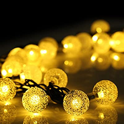 Amaz-Play Outdoor Solar String Lights - Waterproof Decorative Led Lights for Christmas Tree, Patio, Party, Garden, Yard, Home - 20ft 30 LED