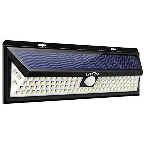 Litom 102 LED Super Bright Solar Lights Outdoor, Power Solar