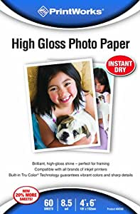 Printworks High Gloss Photo Paper, 8.5 Mil, Inkjet, 60 Sheets, 4 x 6 Inch (00590)