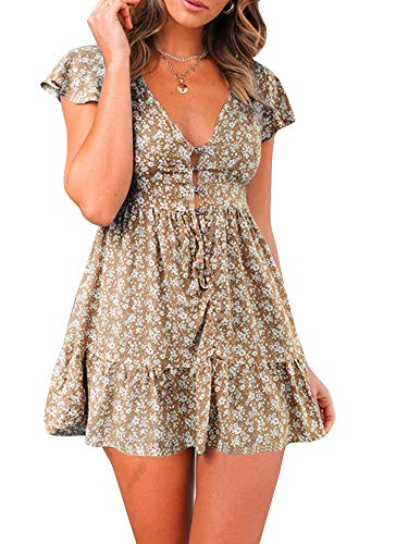 (GAMISOTE Womens Floral Print Mini Dress V Neck Short Sleeve Boho Swing Dresses (Small, Khaki))