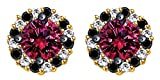 Simualted Pink Sapphire, Black Spinel & White Topaz Stud Earrings In 10k Solid Yellow Gold
