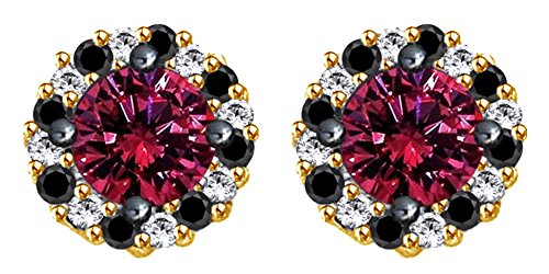 Simualted Pink Sapphire, Black Spinel & White Topaz Stud Earrings In 10k Solid Yellow Gold by AFFY