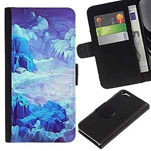 Planetar® Modelo colorido cuero carpeta tirón caso cubierta piel Holster Funda protección Para Apple (4.7 inches!!!) iPhone 6 ( Iceberg Planet Space Terrain Blue )