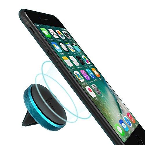 Trianium Aluminum Magnetic Air Vent Car Phone Mount Compatible with iPhone Xs Max XR iPhone X 8 7 6s 6 Plus SE, Galaxy S9 S8 S7 Edge, Note 9,LG G7 thinQ,G6 G5,Pixel,Nexus 6P 6X,Pixel 2 XL-Blue