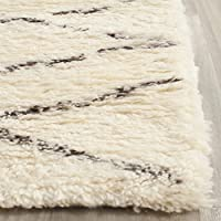 Safavieh Casablanca Shag Collection CSB847A Handmade Ivory and Brown Premium Wool & Cotton Runner (23 x 12)