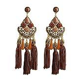 D EXCEED Ethnic Brown Charm Tassel Filigree Crystal Statement Pierced Earrings for Women