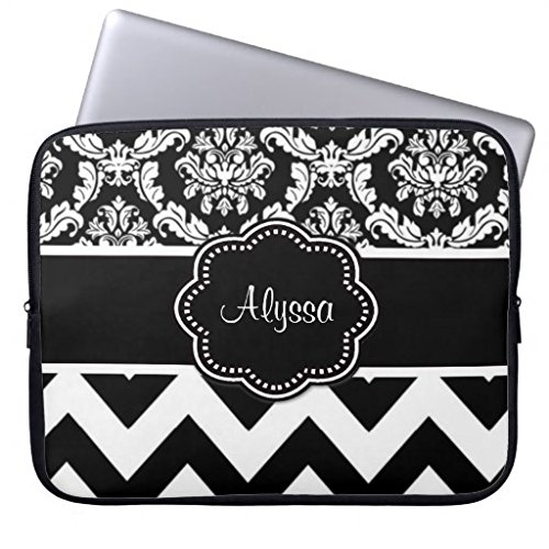 Sinluen 15 inch Laptop Case Bag Black Dot Damask Personalized Laptop Case Computer Sleeves