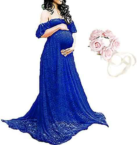 e0fd7c5cd73f7 Women's Off Shoulder Ruffle Sleeve Lace Maternity Gown Maxi Photography  Dress