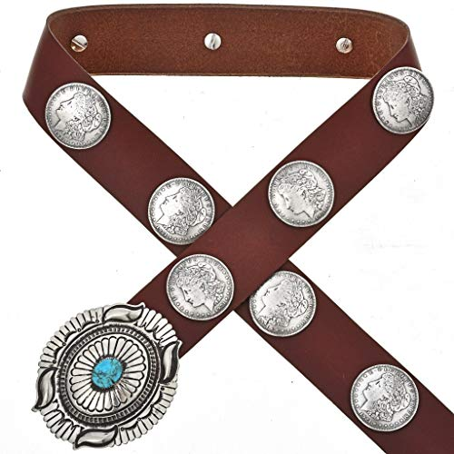 Morgan Silver Dollar Concho Belt Navajo Turquoise Old Pawn Style 0116 ()