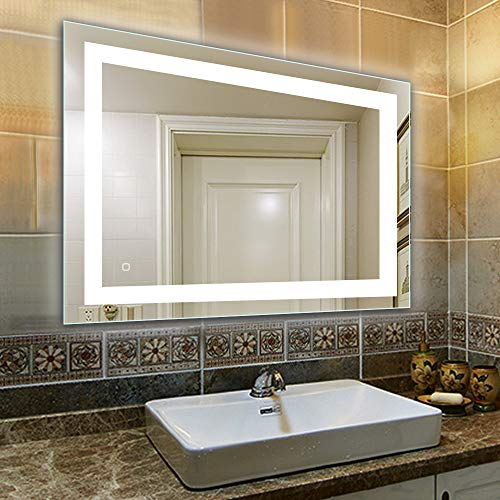 32 x 24 inch Bathroom Vanity Mirror, LED Backlit+Wall Mounted + Defogger - Vanity Clock Bathroom And Mirrors With Lights