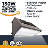 150W Wall Pack LED - 20000 Lumens, LED Powered Outdoor Security Full Cutoff Wall Pack Lights - Commercial or Industrial Security Lighting - 5000K - (UL + DLC)