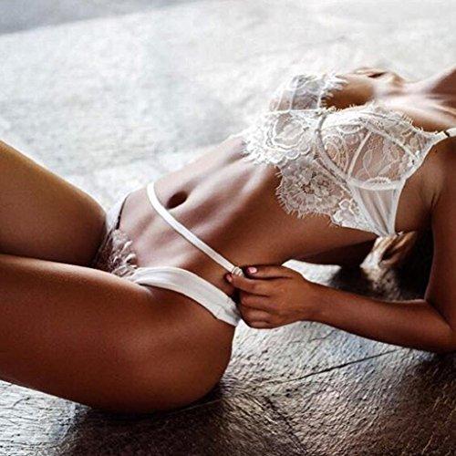 ALISIAM Las mujeres encaje vendaje hueco lencería corsé Push Up Bra superior + conjunto de ropa interior pantalones White