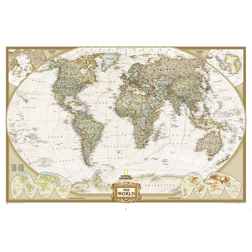 GIANT SIZE BEST SELLING push pin map of the World Nat Geo's Executive World FRAMED 78.5 X 53.5'' Pin board MAP with Mahogany Finish Frame is the best push pin travel map for home or office by National Geographic (Image #2)